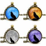 Handmade Howling Wolf Glass Cabochon Pendant Necklace