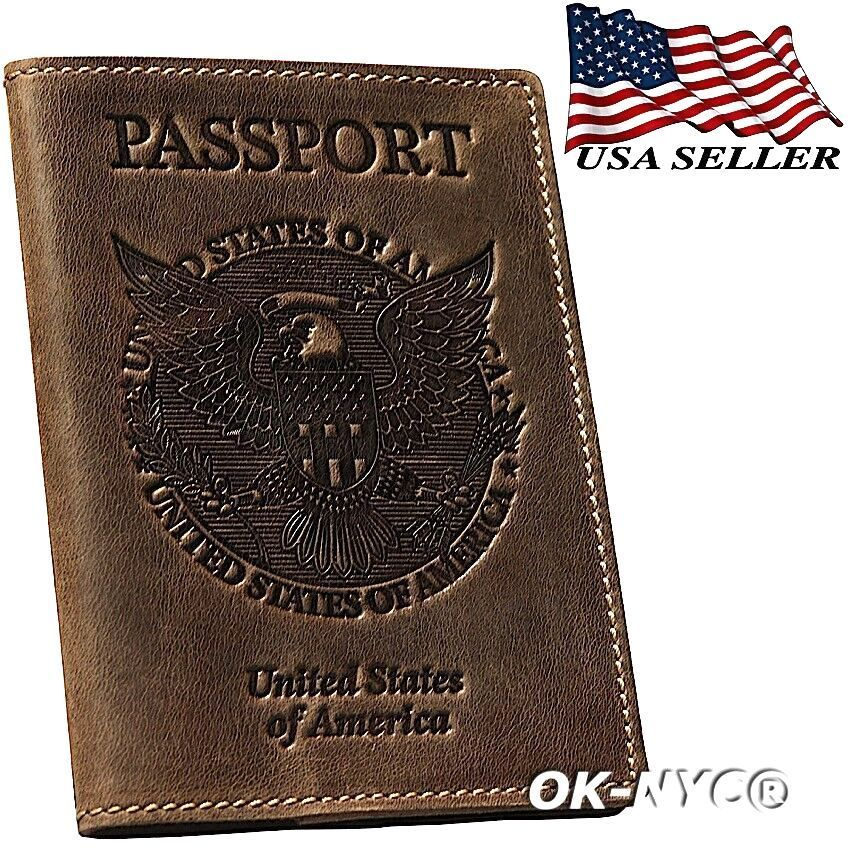 Vintage Collection Large US America Flag Passport Wallet Case Travel Passport Cover