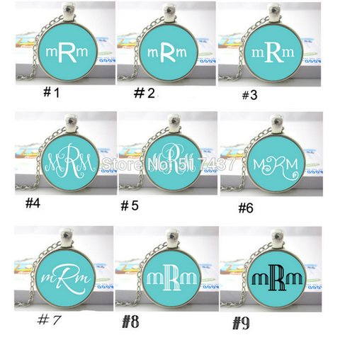 Custom Monogram Three Initials Pendant Necklace