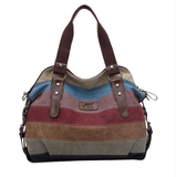 Rainbow Natural Cotton Canvas Fashion Shoulder Crossbody Tote Bag
