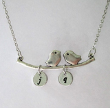 Silver Two Initials Monogram Disc Bird Charm Necklace