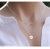 Gold Plated Double Stranded Infinity Initial Necklace