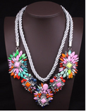 Major Suit Exaggerated Rainbow Colored Woven Clavicular Chain Necklace