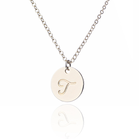Gold Plated One Initial Monogram Disc Charm Necklace