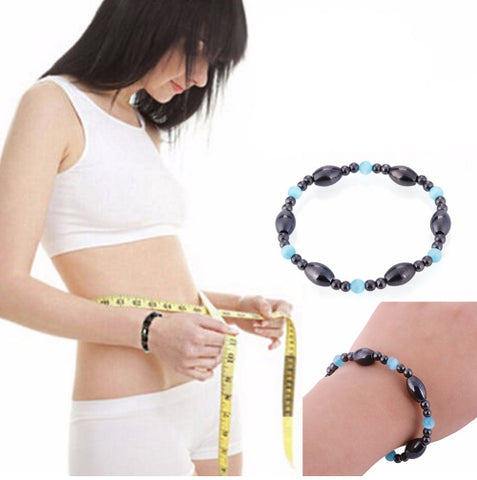 Unisex Biomagnetism Magnetic Health Care Weight Loss Black Stone Blue Cat Eye Beaded Bracelet