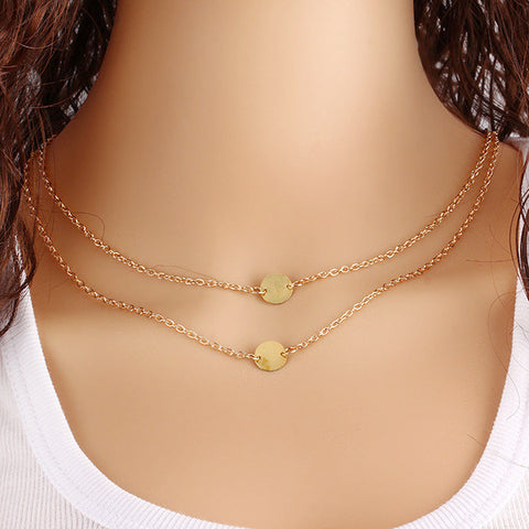 Gold Plated Double Discs Multilayered Pendant Necklace.