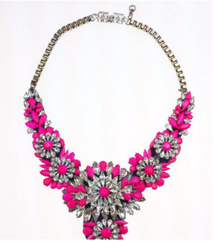 Major Suit Rainbow Bib Lips Flower Color Stone Necklace