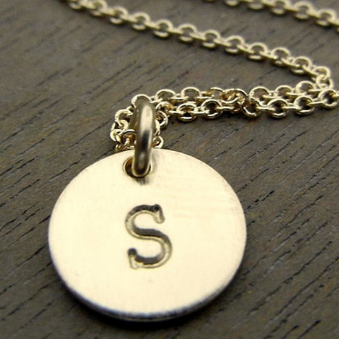 Gold Plated One Initial Monogram Disc Necklace