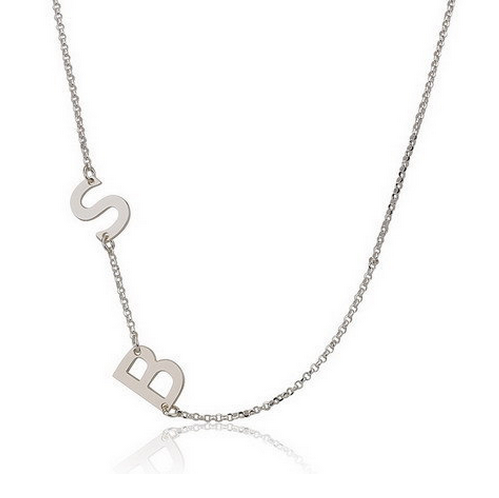 Silver Custom Made Two Initials Sideways Charm Necklace