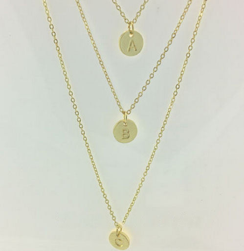 Gold Plated Three Initials Monogram Disc Charm Necklace