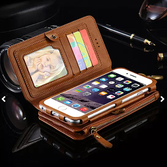 Genuine All- In- One Multifunction Leather Card Wallet Zipper Case Cover For iPhone 6/7/SPlus