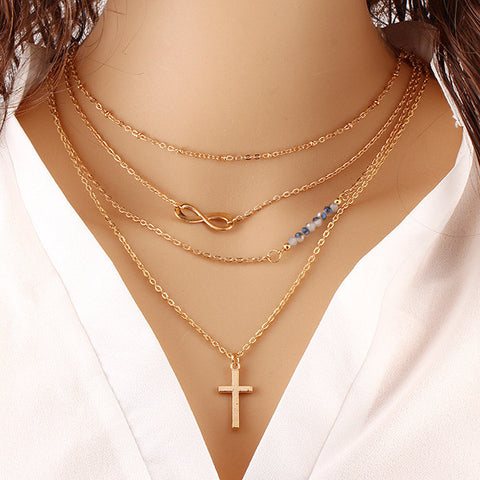 Cross Gold Plated Infinity Beaded Pendant Necklace