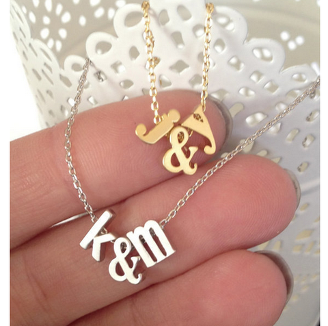 Gold Plated Custom Two Initials Ampersand Necklace