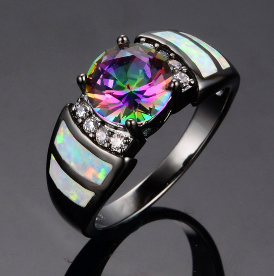 10KT Black Gold Filled Rainbow Opal & CZ Crystal Ring