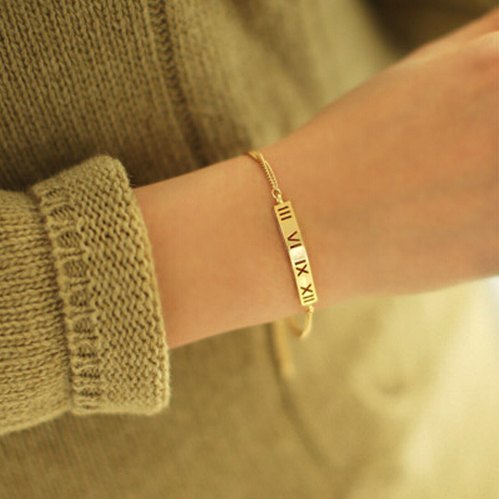 Personalized Gold Silver Roman Numbers Bar Bracelet
