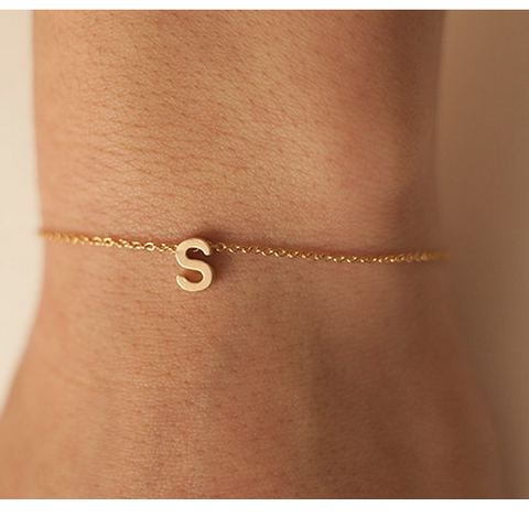 Gold Plated One Initial Personalized Bracelet