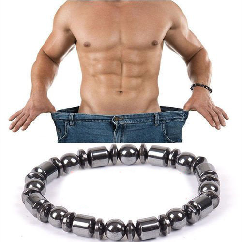 Unisex Biomagnetism Magnetic Health Care Weight Loss Round Stone Bracelet