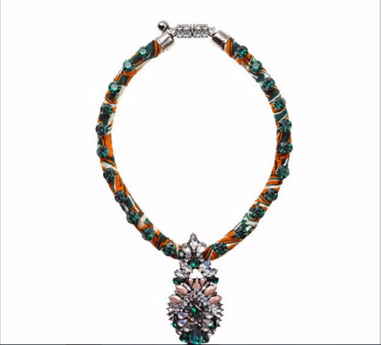 Shourouk bead bib statement chunky choker crystal necklace