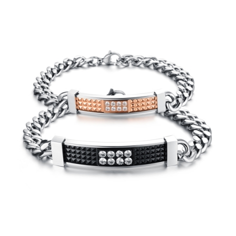 STAINLESS STEEL CRYSTAL COUPLE'S BRACELET
