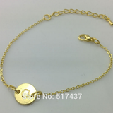 Silver and Gold One Initial Monogram Disc Bracelet