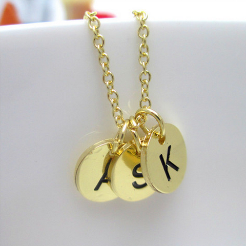 Gold Plated Three Initials Monogram Discs Necklace