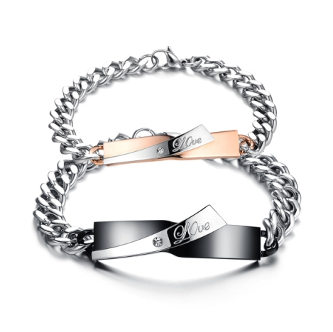 STAINLESS STEEL LOVE FASHION COUPLE'S BRACELET
