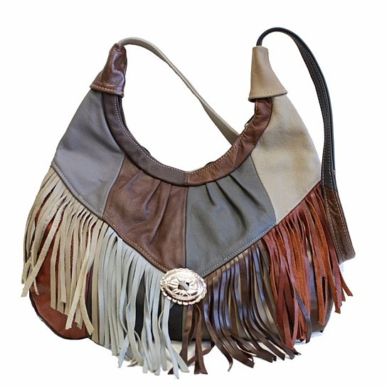 Fringe Hobo Bag - Soft Genuine Leather Multi Color genuine, handbag,shoulder,strap pocket compartment