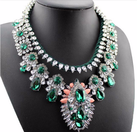 Luxury Multicolor Crystal Rhinestones Vintage Gun Black Necklace