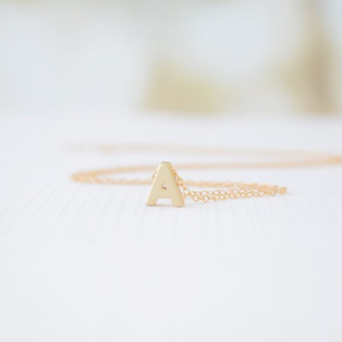 Tiny Gold Plated Personalzied Letter Charm Necklace