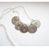 Sterling Silver Five Initials Monogram Discs Necklace