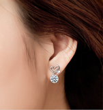 Silver Love Heart Butterfly Ear Studs