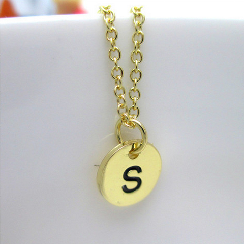 Gold Plated Initial Monogram Disc Charm Necklace
