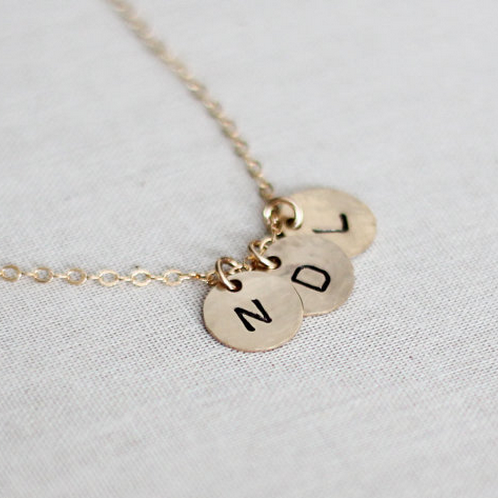 Gold Filled Three Initials Monogram Disc Necklace