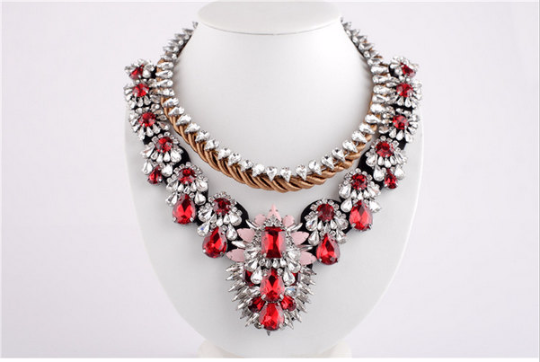 luxury crystal beads choker design bib statement necklace