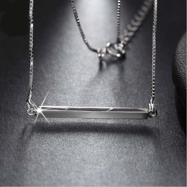 Sterling Silver Rhodium Plated Bar Pendant Necklace