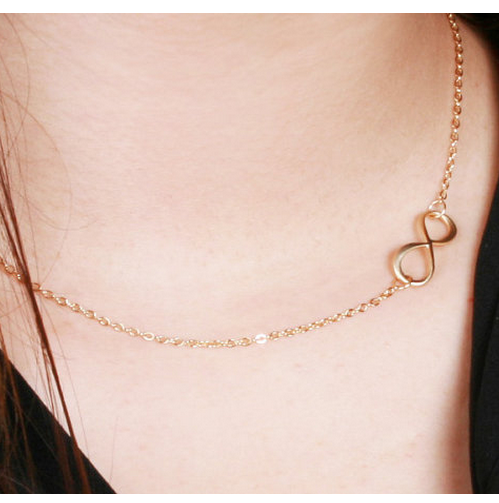 Gold Plated Sideways Infinity Pendant Necklace