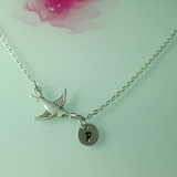 Silver One Initial Monogram Disc Bird Charm Necklace