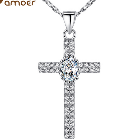 Cross Pendant 18K Platinum Plated Cubic Zircon Necklace