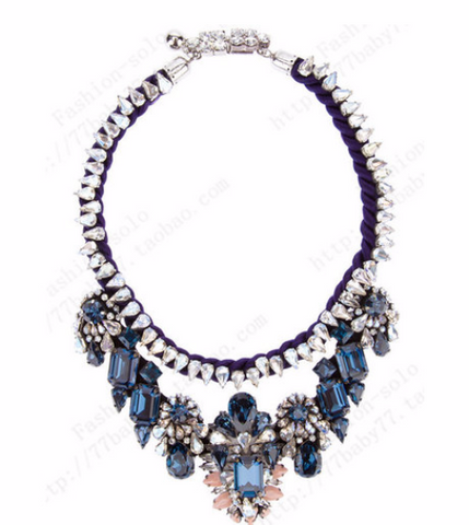 Blue Luxury shourouk Beautiful Choker Crystal bib chunky flower necklace