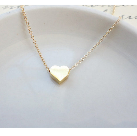 Gold Plated Custom Made Tiny Heart Charm Necklace