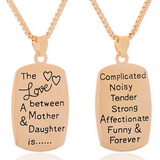 """THE LOVE BETWEEN A MOTHER & DAUGHTER IS"" GOLD NECKLACE"