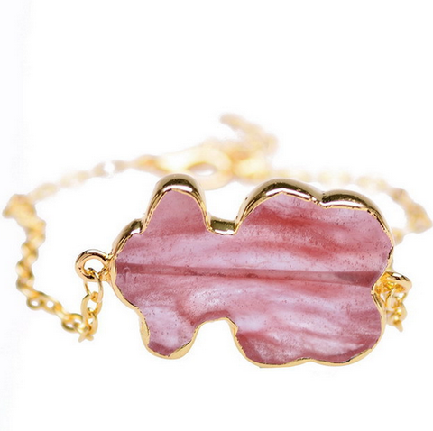 GOLD PLATED NAUGHTY BEAR QUARTZ BRACELET