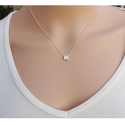 Custom Made Sterling Silver One Initial Pendant Necklace