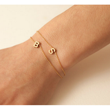 Gold Plated Initials Two Personalized Bracelets