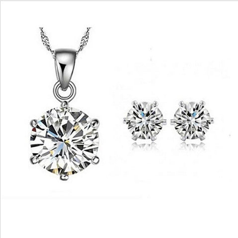 Silver Cubic Zirconia CZ Necklace Earrings Jewelry Set