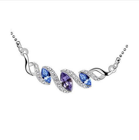 WHITE GOLD PLATED MULTICOLOR CRYSTAL NECKLACE
