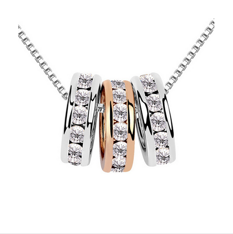 WHITE GOLD & ROSE GOLD CRYSTAL RINGS NECKLACE