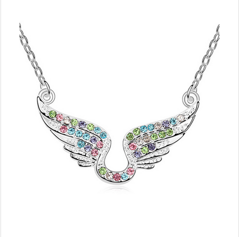 MULTICOLOR CRYSTAL WINGS OF ANGEL NECKLACE