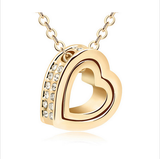 GOLD PLATED CRYSTAL LOVE HEART NECKLACE