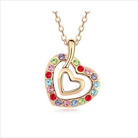 LOVE HEART MULTICOLOR CRYSTAL - GOLD PLATED